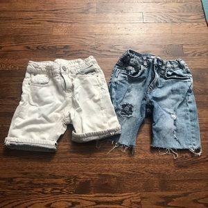 Zara denim cotton cutoff shorts size 9 blue cream